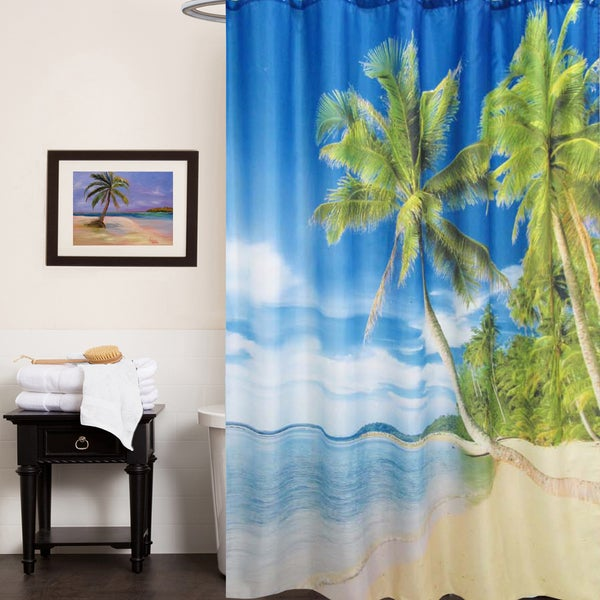 Shop Fabric Shower Curtain With Tropical Island Beach Print 70 X