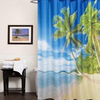 "Fabric Shower Curtain With Tropical Island Beach Print (70"" x 70"")"