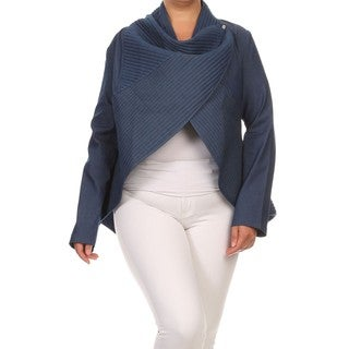 Women's Denim Blue Cotton and Spandex Flare-hem Cardigan