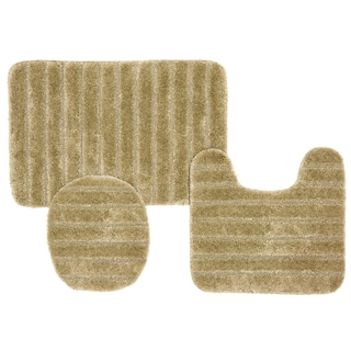 Ribbed, High-Pile Bath Mat 3-Piece Set - Assorted Colors