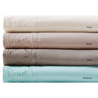 Madison Park Essentials Fretwork Microcell Embroidered Sheet Set 4-Color Option