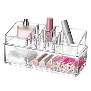 Ikee Design Clear Acrylic Jewelry and Makeup 2-piece Organizer Set