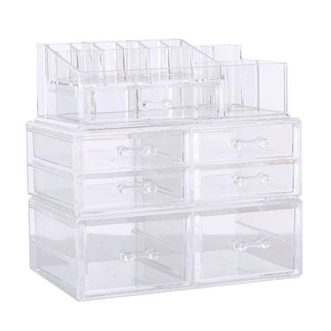 Deluxe Stackable 3-piece Acrylic Makeup Storage Set - Clear