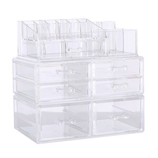 Ikee Design Deluxe Stackable 3-piece Premium Acrylic Makeup Storage Set