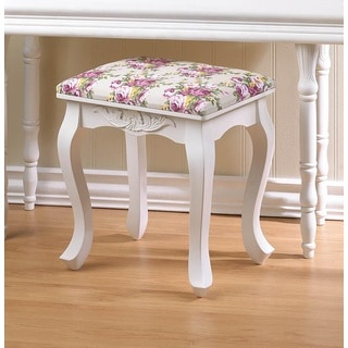 Roselyn White Traditional Wooden Stool