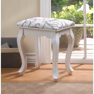 Fremont White Traditional Wooden Stool