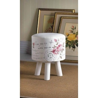 Romantic Floral Fabric Stool