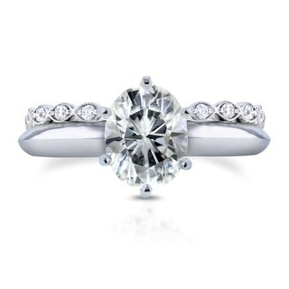 Annello by Kobelli 14k White Gold 1 1/2ct Oval Moissanite and 1/3ct TDW Diamond Band Bridal Set