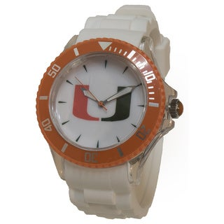 University of Miami White Silicone Sporty Watch