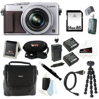 Panasonic LUMIX LX100 16.8 MP with Integrated Leica DC Lens (Silver) Bundle with 64GB SD Card + Gadget Bag Bundle