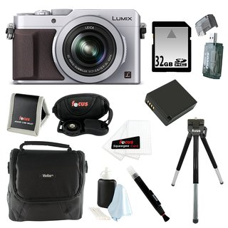 Panasonic LUMIX LX100 16.8 MP with Integrated Leica DC Lens (Silver) Bundle with 32GB SD Card + Gadget Bag Bundle