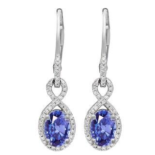 10k Gold 1ct TGW Oval Tanzanite and 5/8ct TDW Diamond Dangling Earrings (I-J, I2-I3)