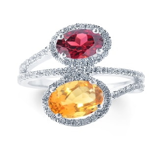 Sterling Silver 2.94ct Citrine, Garnet and White Topaz Bypass Ring