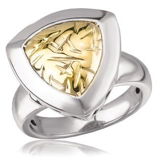 Avanti Sterling Silver and 14K Yellow Gold Triangular Shaped Pleated Design Ring