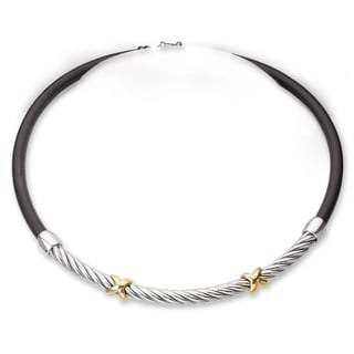 Avanti Sterling Silver and 18K Yellow gold  Double Twisted Rope Design with Rubber Chain Necklace