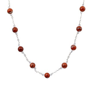 Orchid Jewelry 925 Sterling Silver 45 2/7 Carat Jasper and Crystal Quartz Necklace
