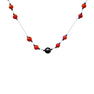 Orchid Jewelry 925 Sterling Silver 72 Carat Red Coral, Lapis and Garnet Necklace