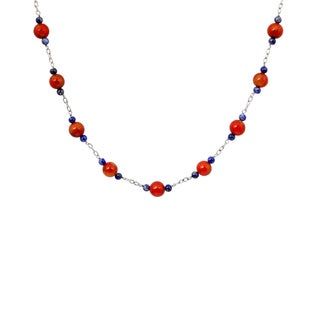 Orchid Jewelry 925 Sterling Silver 62 Carat Red Coral and Lapis Necklace
