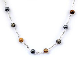 Orchid Jewelry 925 Sterling Silver 59 3/5 Carat Jasper, Hematite and Crystal Quartz Necklace