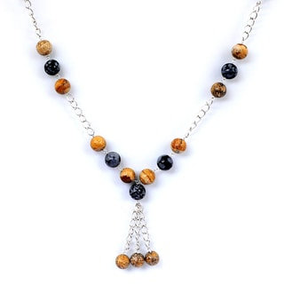 Orchid Jewelry 925 Sterling Silver 94 3/4 Carat Jasper and Snowflake Obsidian Necklace
