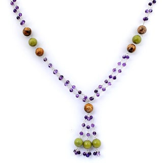 Orchid Jewelry 925 Sterling Silver 70 Carat Jasper, Aventurine and Amethyst Necklace