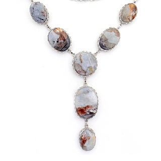Orchid Jewelry 925 Sterling Silver 450 Carat Jasper Necklace