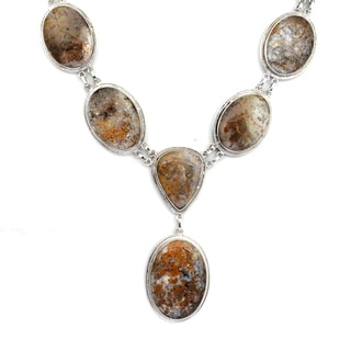 Orchid Jewelry 925 Sterling Silver 251.9 Carat Jasper Necklace