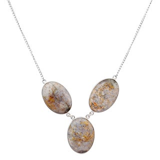 Orchid Jewelry 925 Sterling Silver 77 3/5 Carat Jasper Necklace