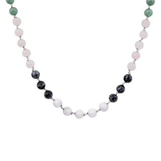 Orchid Jewelry 925 Sterling Silver 130 1/3 Carat Agate, Green Aventurine, Rose Quartz and Obsidian Necklace
