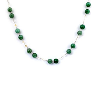 Orchid Jewelry 925 Sterling Silver 79 1/2 Carat Green Aventurine and Crystal Quartz Necklace