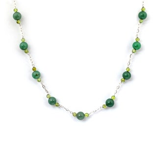 Orchid Jewelry 925 Sterling Silver 58 4/9 Carat Green Aventurine, Peridot Necklace