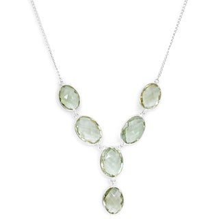Orchid Jewelry 925 Sterling Silver 50 5/7 Carat Oval Cut Green Amethyst Necklace