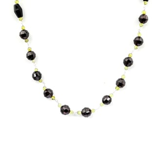 Orchid Jewelry 925 Sterling Silver 120 2/5 Carat Garnet, Onyx and Peridot Necklace