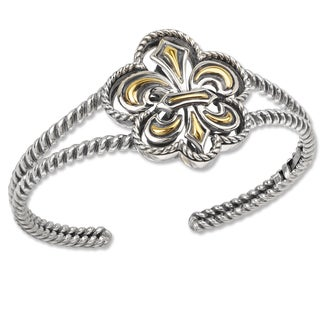 Avanti Sterling Silver and 18K Yellow Gold Fleur-De-Lis Design Cuff Bracelet