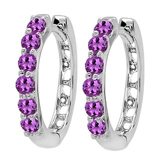 14k White Gold 1/3ct TW Round Amethyst Leverback Hoop Earrings