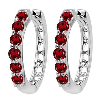 14k White Gold 1/3ct TW Round Garnet Leverback Hoop Earrings