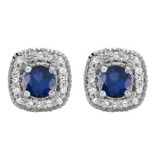 14k White Gold 1/3ct TW Round Blue Sapphire Leverback Hoop Earrings