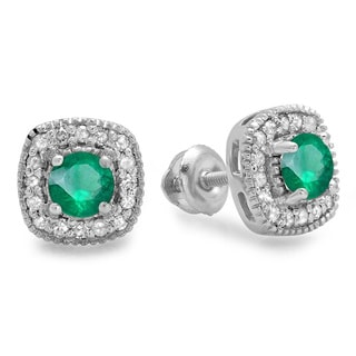 Sterling Silver 3/4ct TW Round-cut Green Emerald and White Diamond Halo Stud Earrings (I-J, I2-I3)