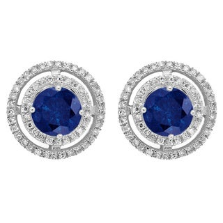 14k White Gold 1 1/5ct TW Round Blue Sapphire and White Diamond Halo Style Stud Earrings (I-J, I1-I2)