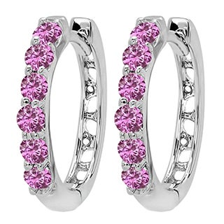 14k White Gold 1/3ct TW Round Pink Sapphire Leverback Hoop Earrings
