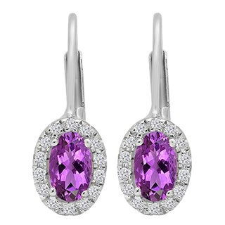 14k Gold 1/2ct TW Oval-cut Amethyst and Round-cut White Diamond Halo Style Hoop Earrings (I-J, I2-I3)