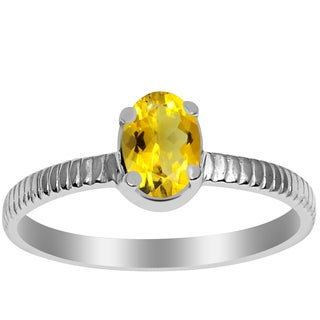 Orchid Jewelry 925 Sterling Silver 2/3 Carat Citrine Birthstone Ring