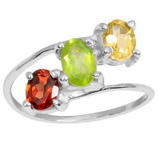 Orchid Jewelry 925 Sterling Silver 1 1/10 Carat Citrine, Peridot and Garnet Gemstones Ring