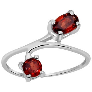 Orchid Jewelry 925 Sterling Silver 1 Carat Garnet Fashion Ring