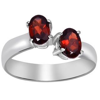 Orchid Jewelry 925 Sterling Silver 1 1/3 Carat Oval Cut Garnet Ring