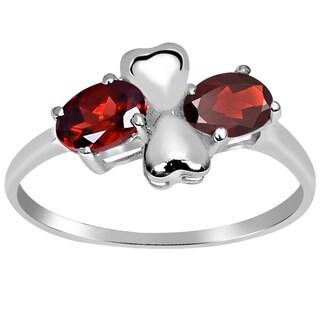 Orchid Jewelry 925 Sterling Silver 1 1/3 Carat Oval Cut Garnet Heart Ring