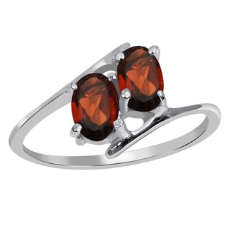 Orchid Jewelry 925 Sterling Silver 1 1/3 Carat Garnet Engagement Ring Ring