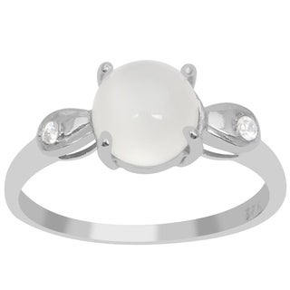 Orchid Jewelry 1 4/9 Carat Moonstone and White Topaz 925 Sterling Silver Three Stones Ring