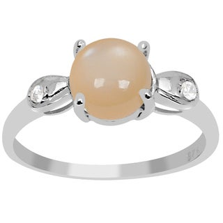 Orchid Jewelry 1 4/9 Carat Orange Moonstone and White Topaz 925 Sterling Silver Three Stones Ring