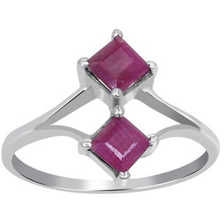 Orchid Jewelry 4/5 Carat Princess Cut Ruby 925 Sterling Silver Ring
